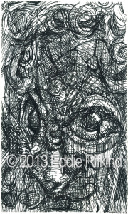 "This is the original drawing. Black ink on paper. 3"" x 5"". In the private collection of Mark Adley."