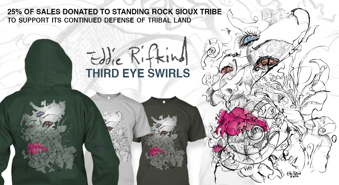Third Eye Swirls t-shirt and hoodie by Eddie Rifkind Art